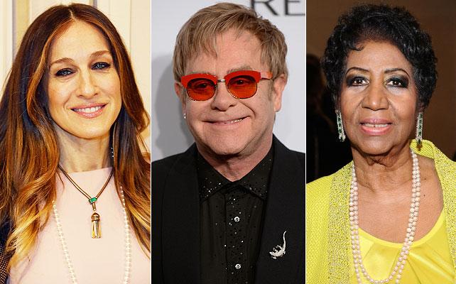 Sarah Jessica Parker, Elton John, Aretha Franklin