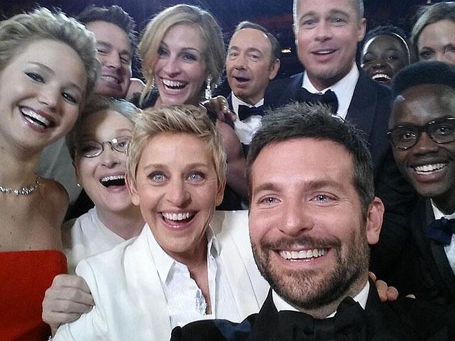 Ellen Degeneres, Jennifer Lawrence, Bradley Cooper, Brad Pitt, Meryl Streep, Julia Roberts, Channing Tatum, Kevin Spacey, Premios Oscar 2014