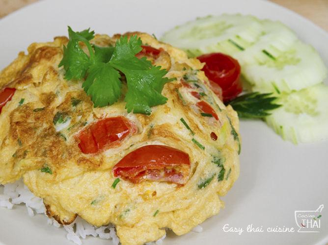 Tortilla de huevo estilo Thai