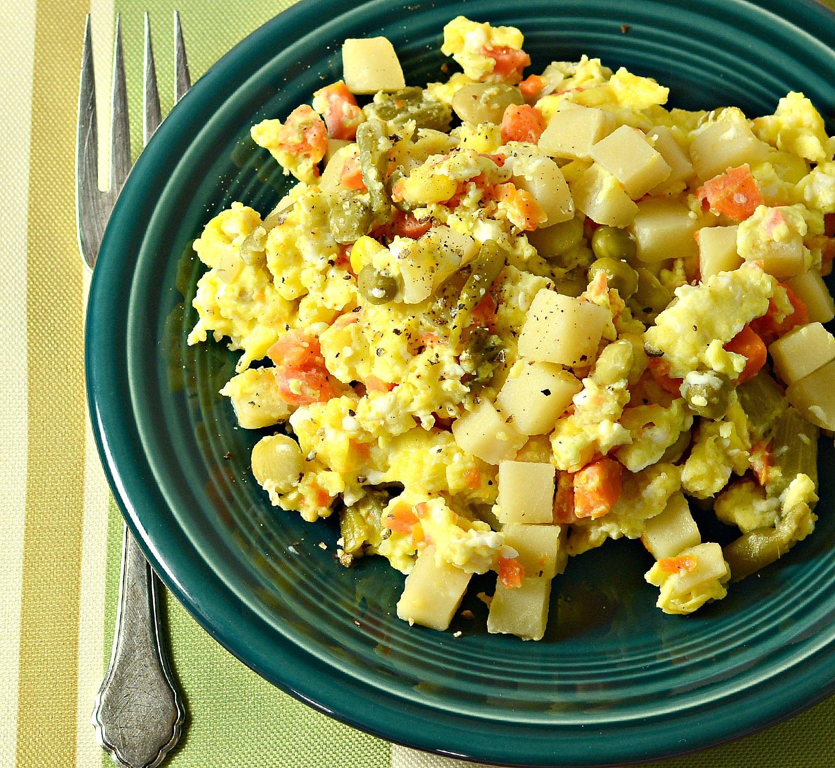Huevo con verduras
