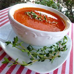 Sopa de pimiento con alubias