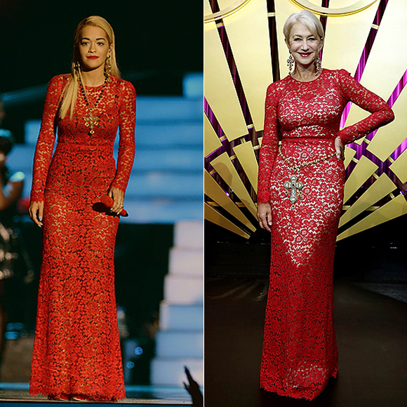 Dos mujeres un vestido, Rita Ora, Helen Mirren