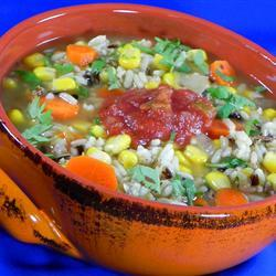 Sopa de arroz salvaje con elote