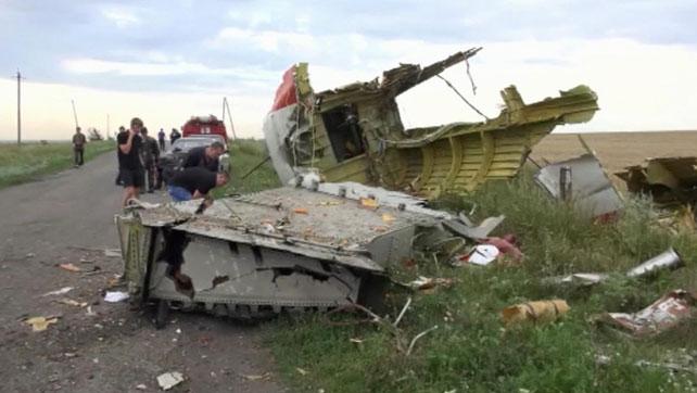 Restos del avión de Malaysia Airlines que fue derribado en Ucrania