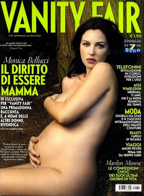 Monica Bellucci, embarazadas en portada