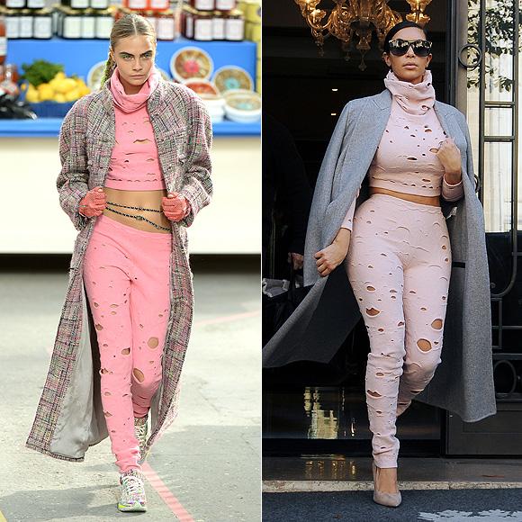 Dos mujeres un vestido, Cara Delevingne, Kim Kardashian