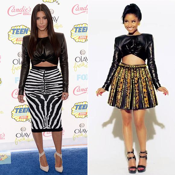 Dos mujeres un vestido, Kim Kardashian, Nicki Minaj