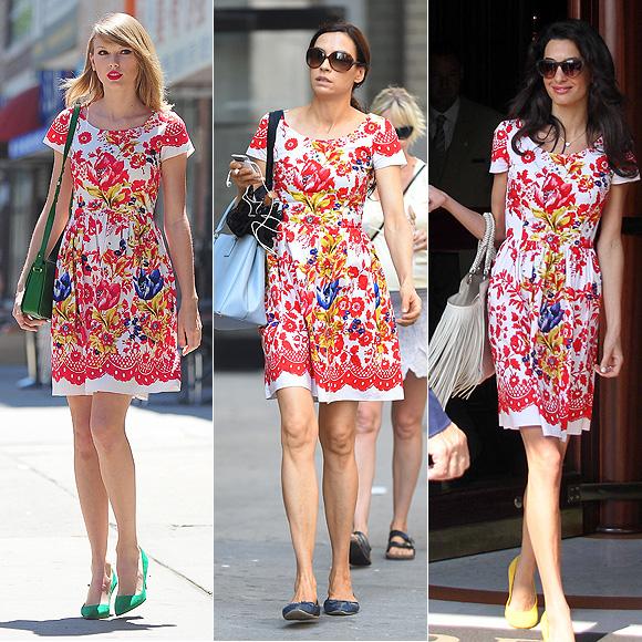 Dos mujeres un vestido, Taylor Swift, Famke Jenssen, Amal Clooney