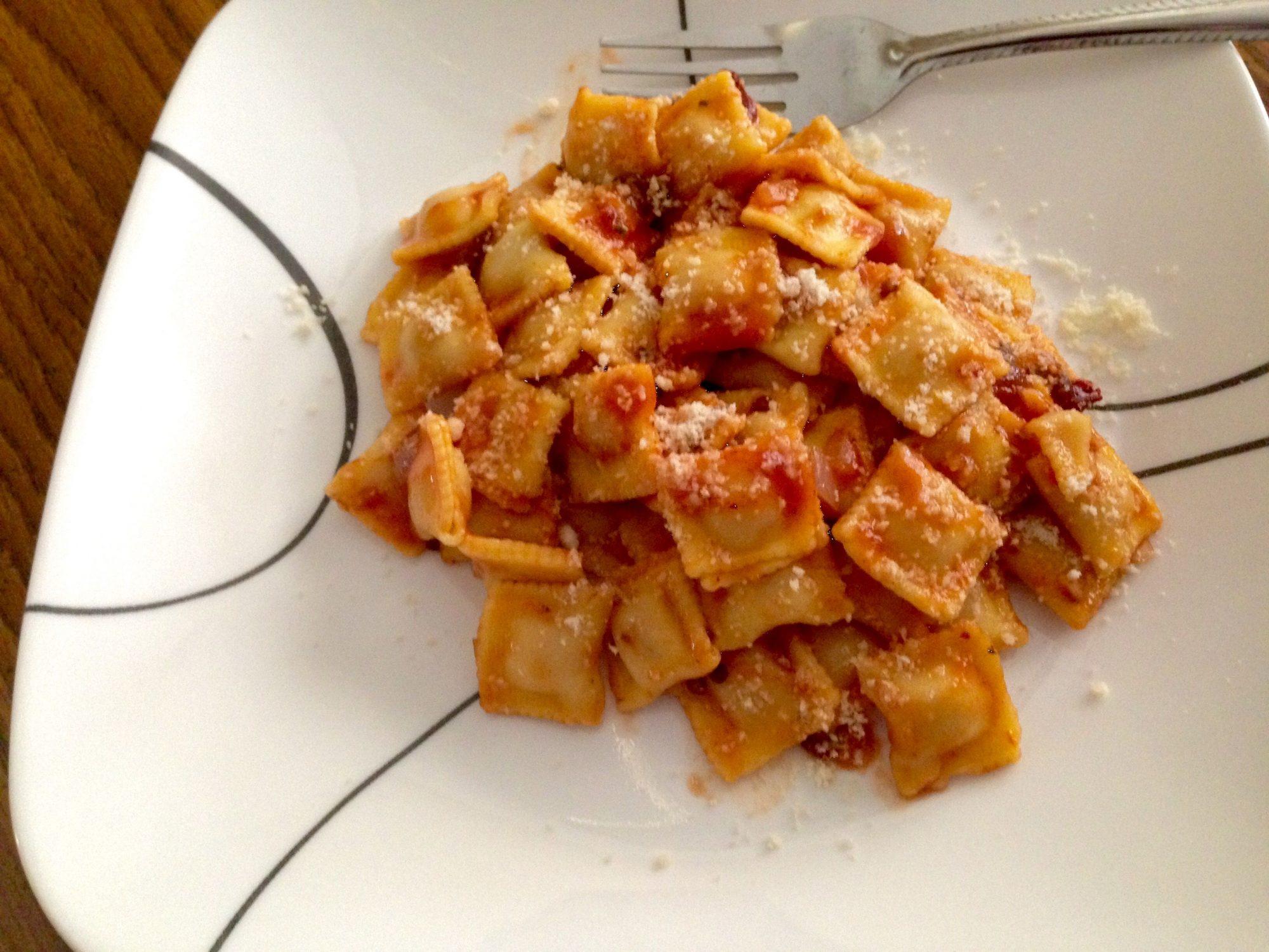 Ravioles en salsa de chipotle