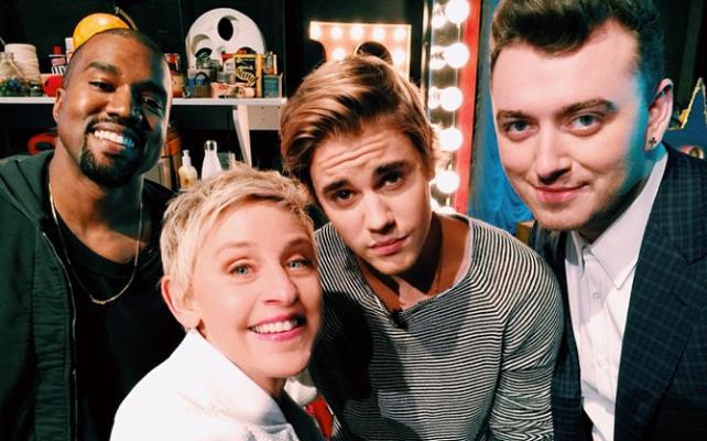 Ellen DeGeneres, Kanye West, Justin Bieber y Sam Smith