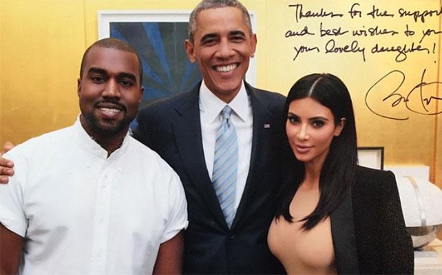 Kanye West, Barack Obama y Kim Kardashian