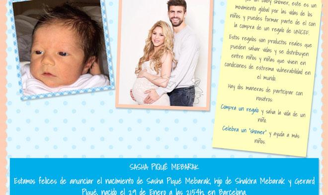 Anuncio nacimiento Sasha