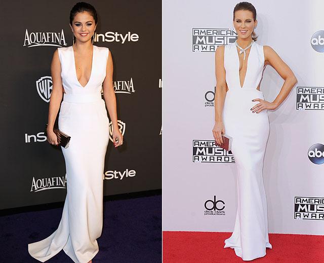 Selena Gómez, Kate Beckinsale, 2 mujeres 1 vestido