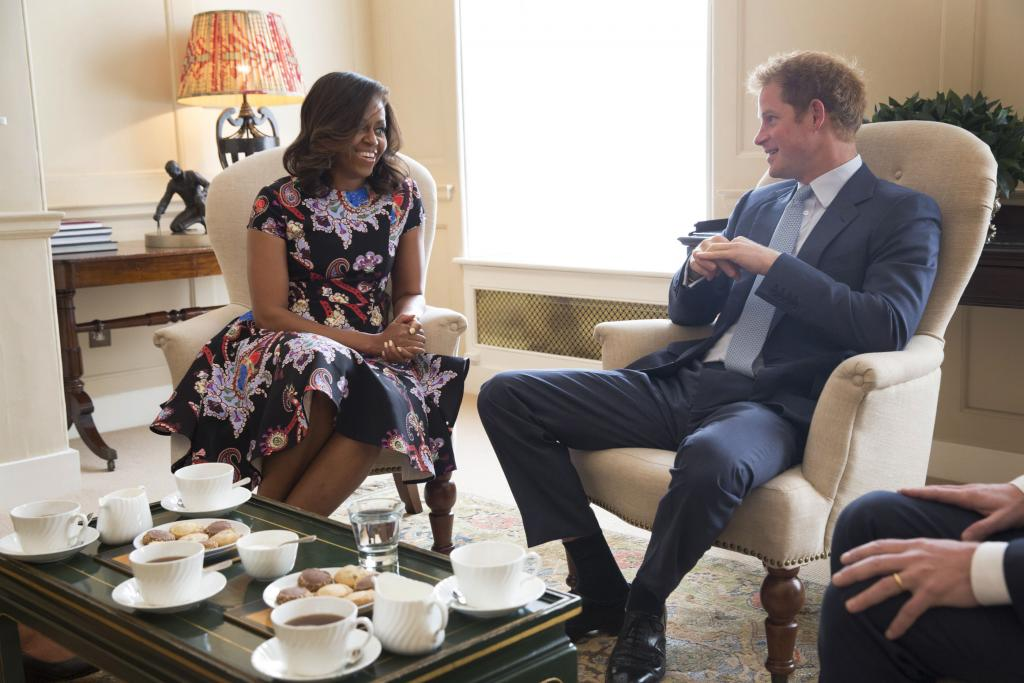 Michelle Obama, y el principe Harry