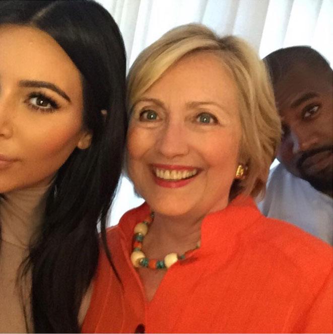Kim Kardashian, Hillary Clinton y Kanye West