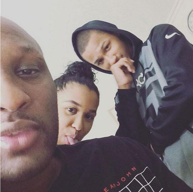 Lamar Odom y sus hijos Lamar y Liza
