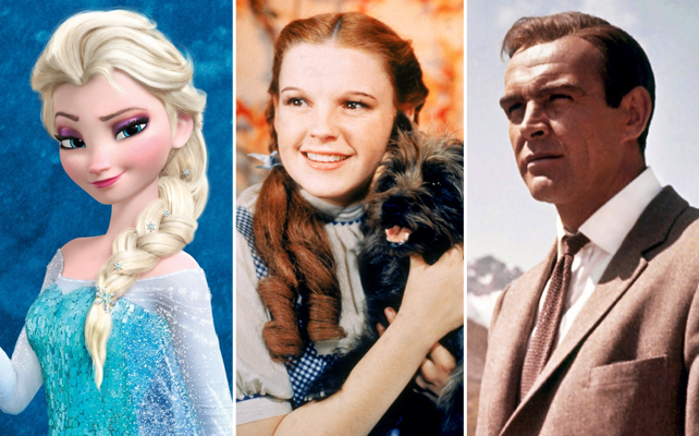 "Elsa de 'Frozen', Dorothy Gale de 'The Wizard Of Oz', y Sean Connery de ""James Bond'"