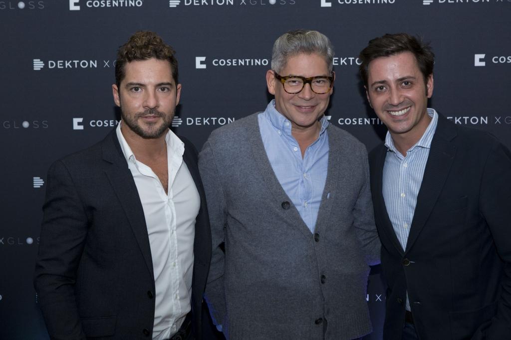 David Bisbal, Boris Izaguierre, y el presidente & CEO de Cosentino North America, Eduardo Cosentino