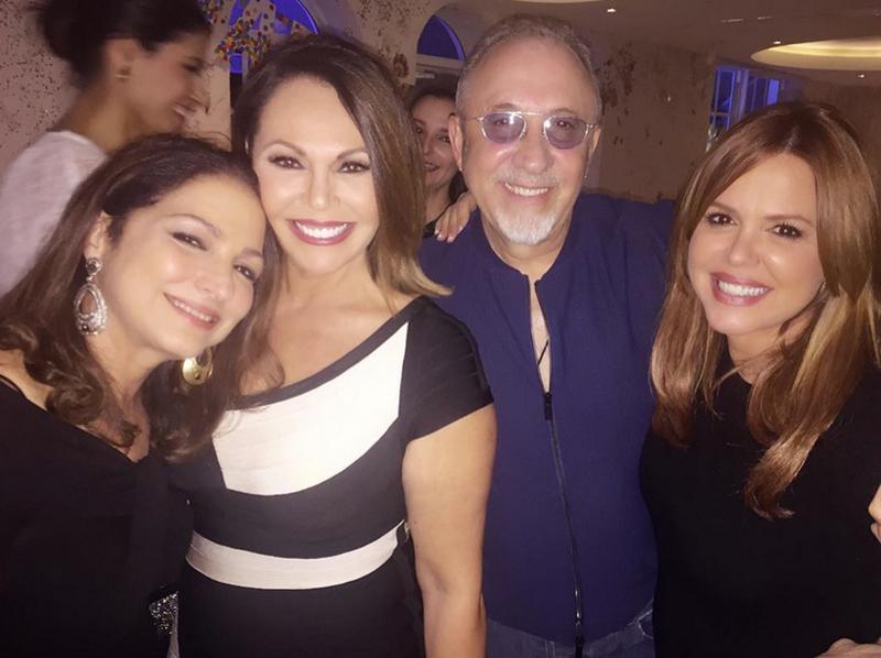 Gloria Estefan, María Elena Salinas, Emilio Estafan y María Celeste