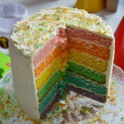 Pastel de arcoíris fácil
