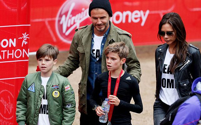 Cruz Beckham, Romeo Beckham, David Beckham, Victoria Beckham.