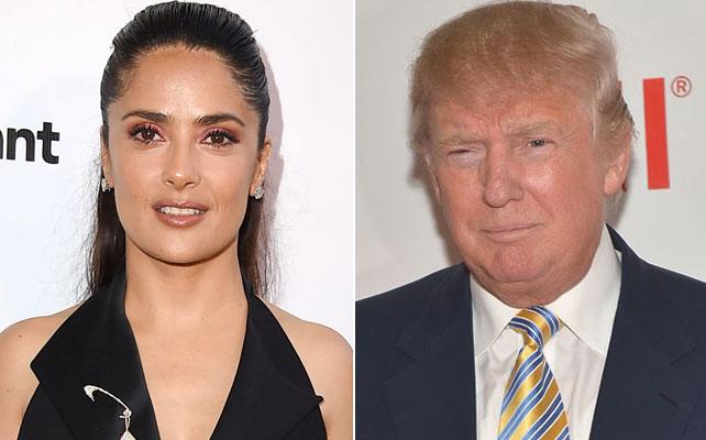 Salma Hayek y Donald Trump para articulo
