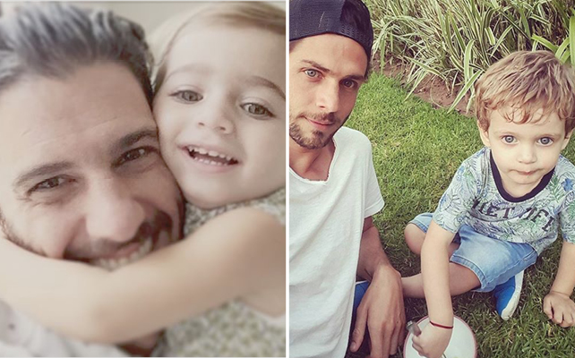 Erick Elías con su hija Olivia y Horacio Pancheri con su hijo Benicio