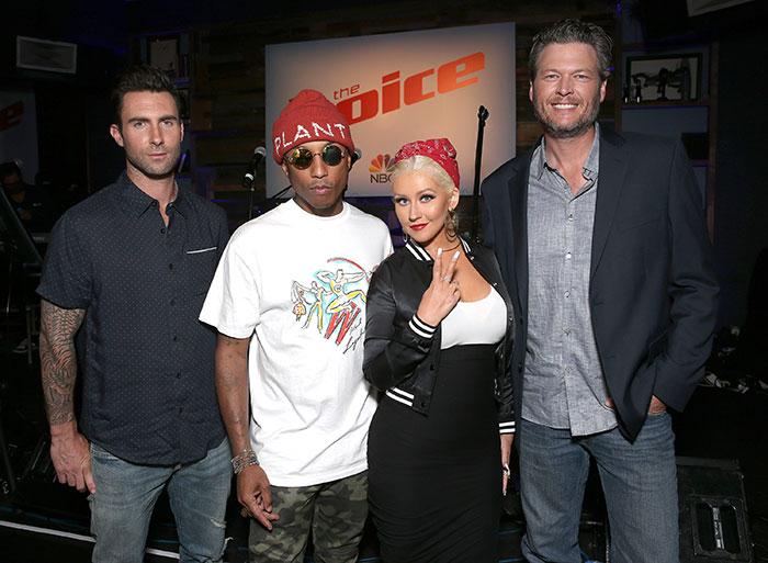 Adam Levine, Pharrell Williams, Christina Aguilera, Blake Shelton