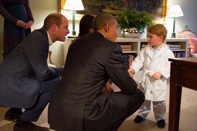 El príncipe George y el presidente Barack Obama