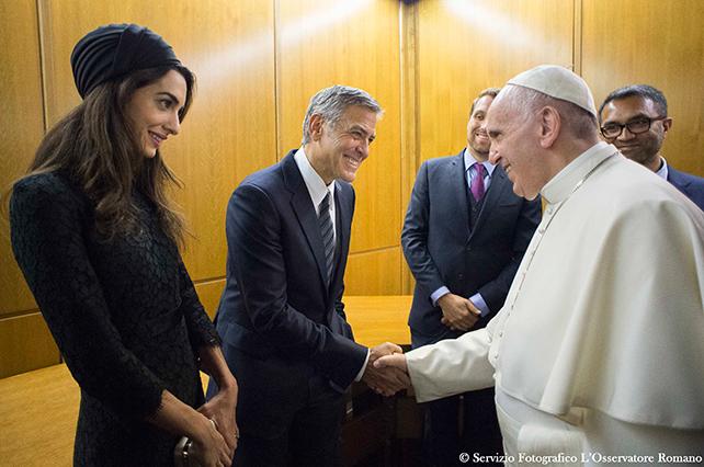 George Clooney, Amal Clooney, papa Francisco