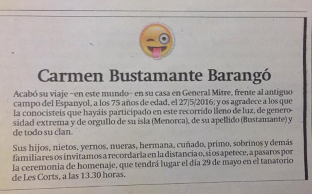 obituario de Carmen Bustamante Barangó
