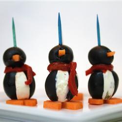 Pingüinos de aceituna y queso