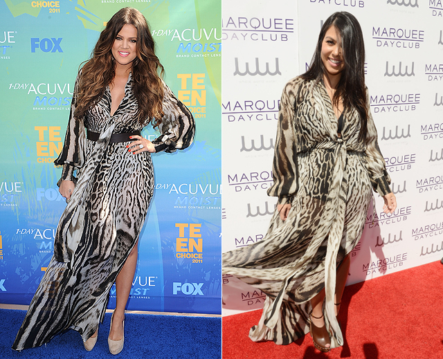 Dos mujeres, un vestido, Khloé Kardashian, Kourtney Kardashian