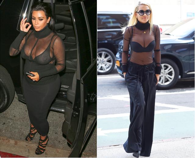 Dos mujeres, un vestido, Kim Kardashian, Rita Ora