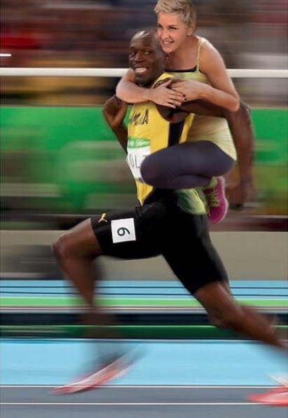 Ellen DeGeneres y Usain Bolt