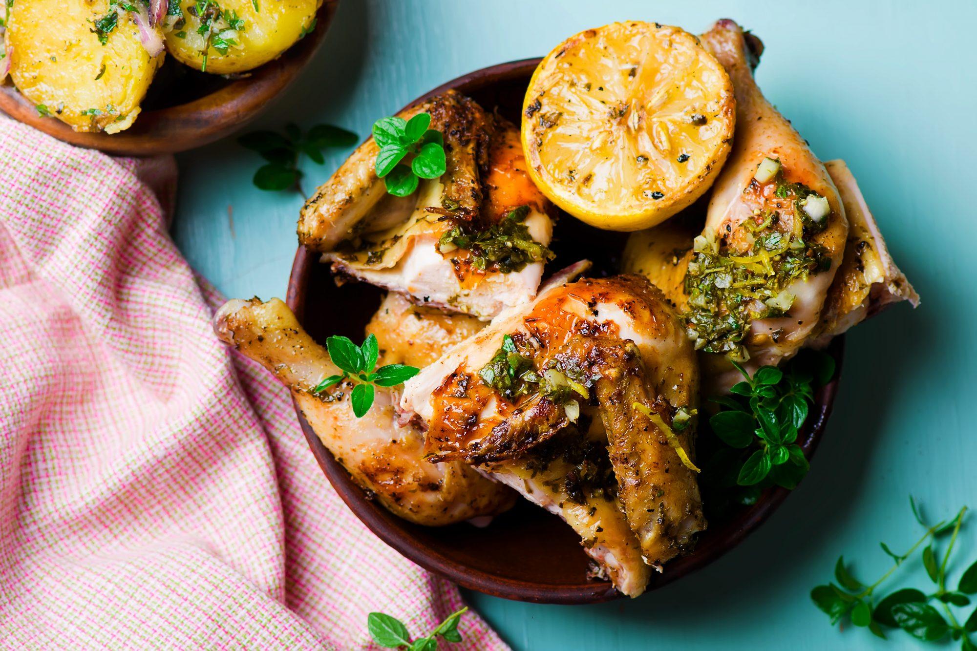 Pollo con limon y oregano estilo mediterraneo