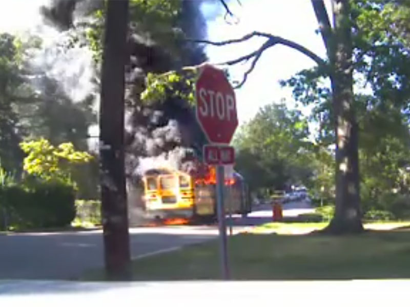 Bus fire in College Park, Maryland
