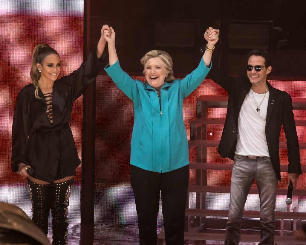 Jennifer López, Hillary Clinton y Marc Anthony
