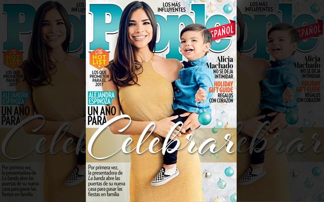 Alejandra Espinoza y Matteo en la portada de Diciembre 2016 de People En Español