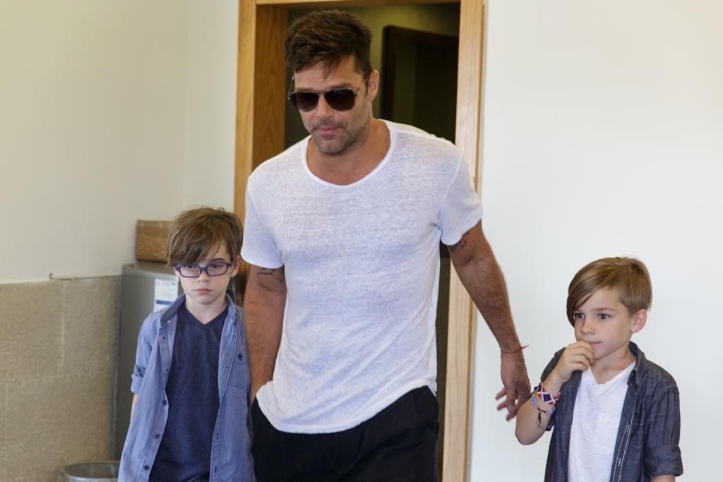 Ricky Martin y su hijos Matteo y Valentino