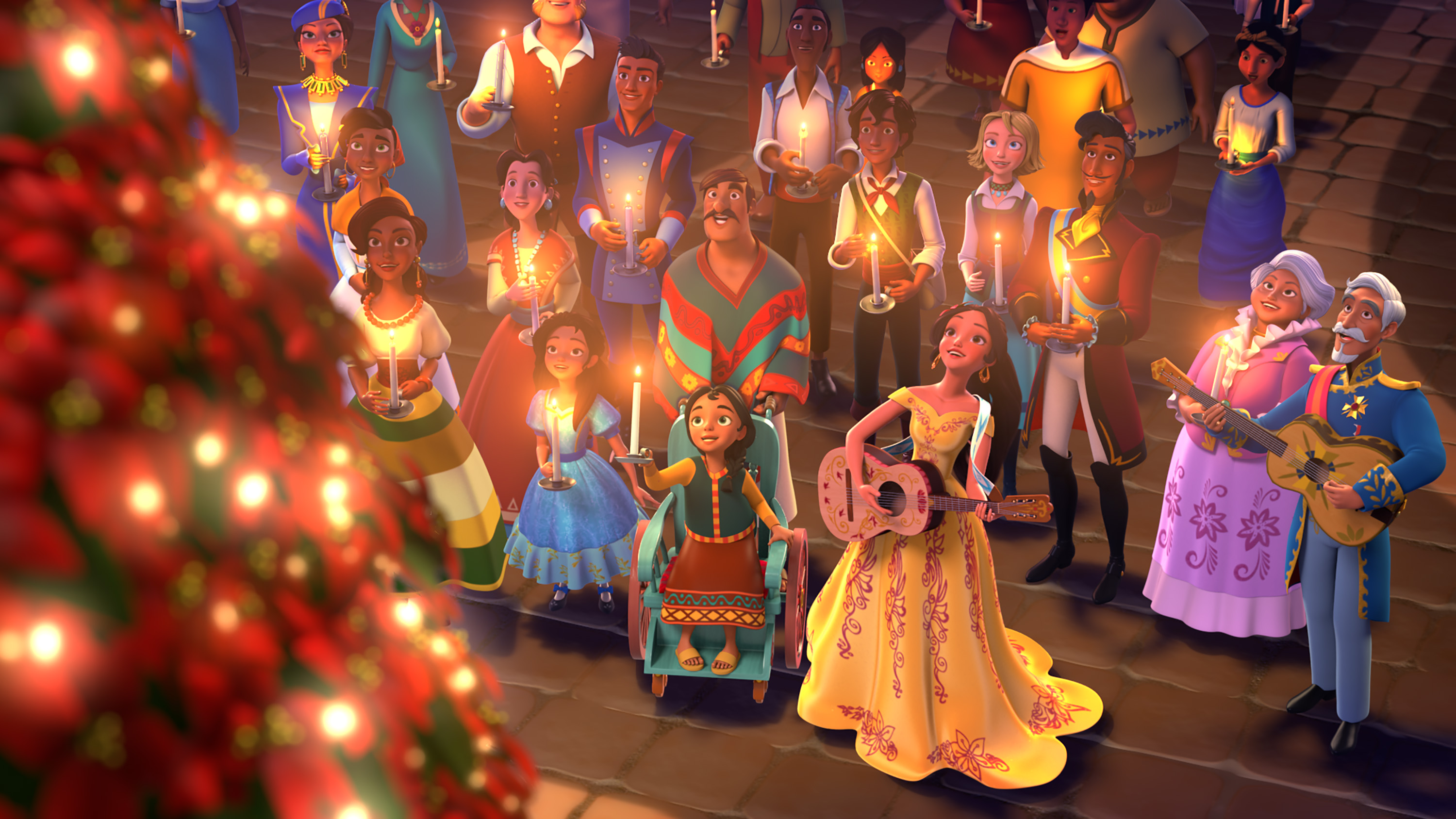 """ELENA OF AVALOR - """"Navidad"""" - In the special """"Navidad"""" episode, premiering FRIDAY, DECEMBER 9 (7:30 p.m., ET/PT) on Disney Channel, Elena bring all the communities of Avalor together to share each other's holiday traditions. But when a Do–a Paloma scheme causes an overly competitive atmosphere, Elena sets off on a traditional """"parranda"""" and carols through the city to remind everyone of the true spirit of Navidad. (Disney Channel) MARLENA, ISABEL, GABE, MATEO, NAOMI, ELENA, ESTEBAN, LUISA, FRANCISCO"""
