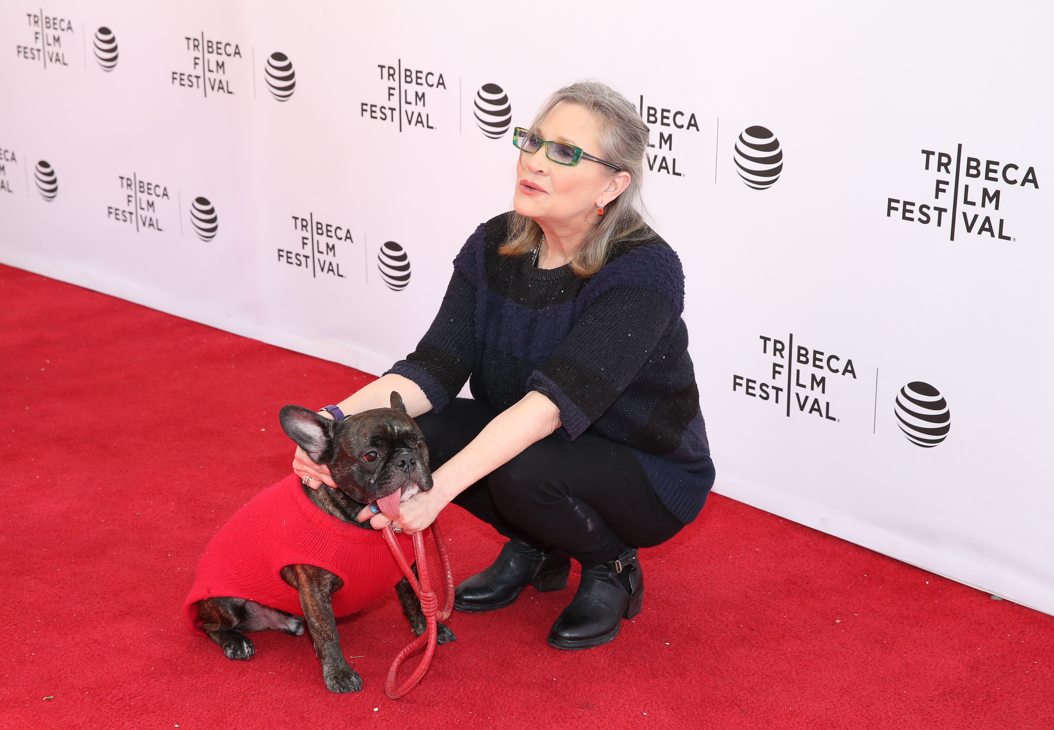 Carrie Fishe y su perro Gary
