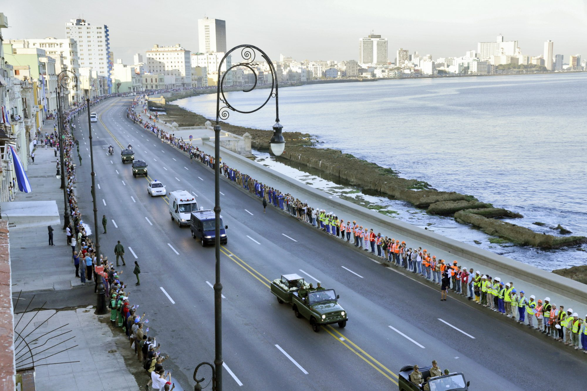 HAVANA NOV30: The caravan carrying the ashes of late Fidel Castro is driving along the Malecon waterfront, on November 30, 2016, in Havana, Cuba. Castros remains will be transported from Havana to Santiago de Cuba where Castro will be buried on December 4, 2016. (Photo by Sven Creutzmann/Mambo photo/Getty Images)