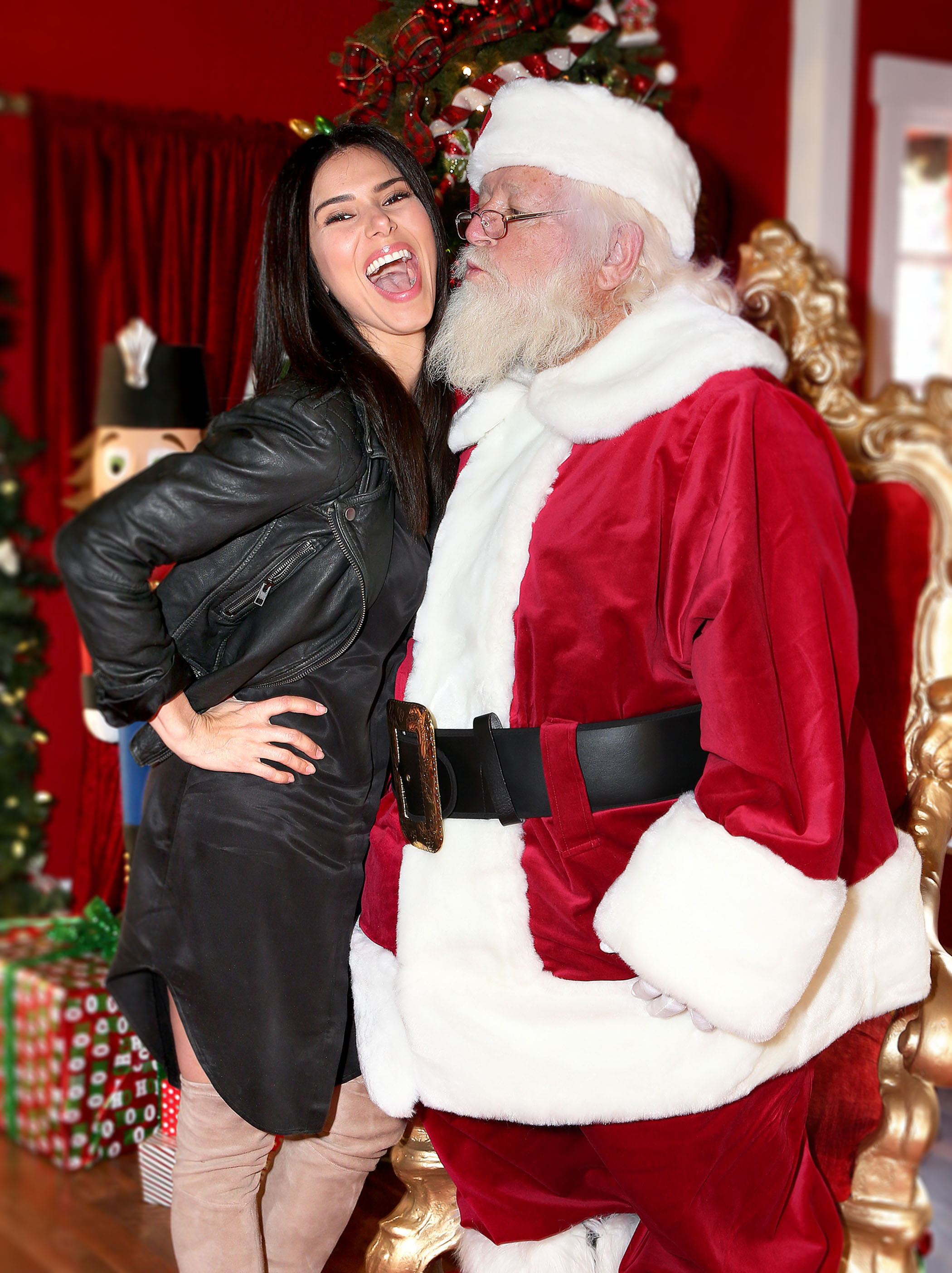 EXCLUSIVE Roselyn Sanchez Looks Fab As She Cuddles Up To Santa Claus At Americana At Brand
