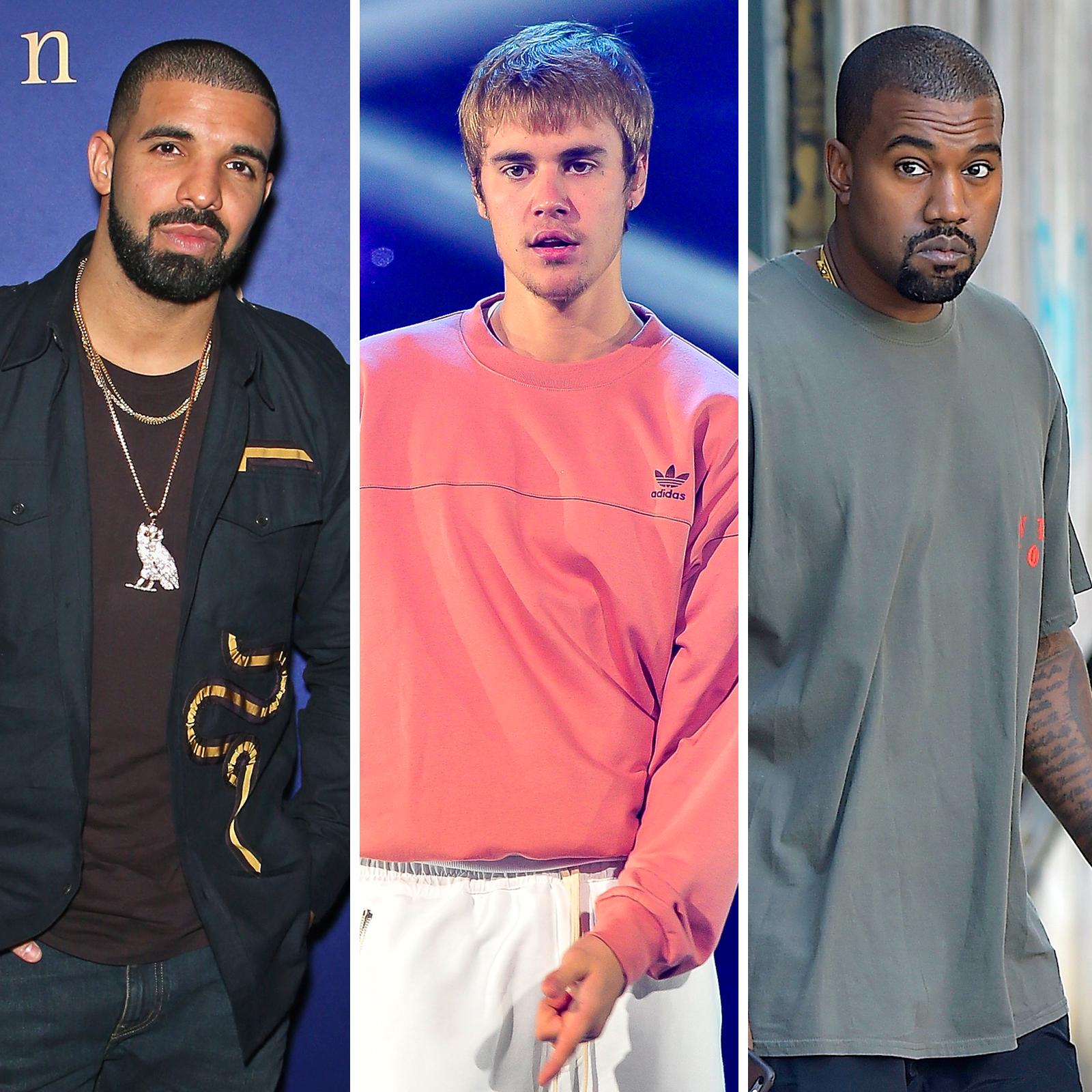 Drake, Justin Bieber y Kanye West