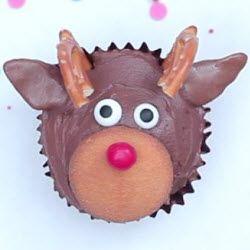 Cupcakes de reno de Navidad