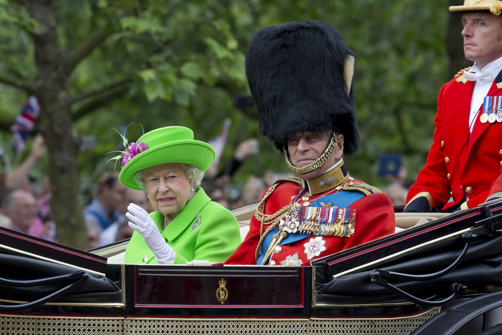LONDON, ENGLAND - JUNE 11: Queen Elizabeth II and Prince Philip, Duke of Edinburgh, travel by carriage along The Mall to the annual Trooping The Colour ceremony at Horse Guards Parade on June 11, 2016 in London, England. (Photo by Julian Parker/UK Press via Getty Images)