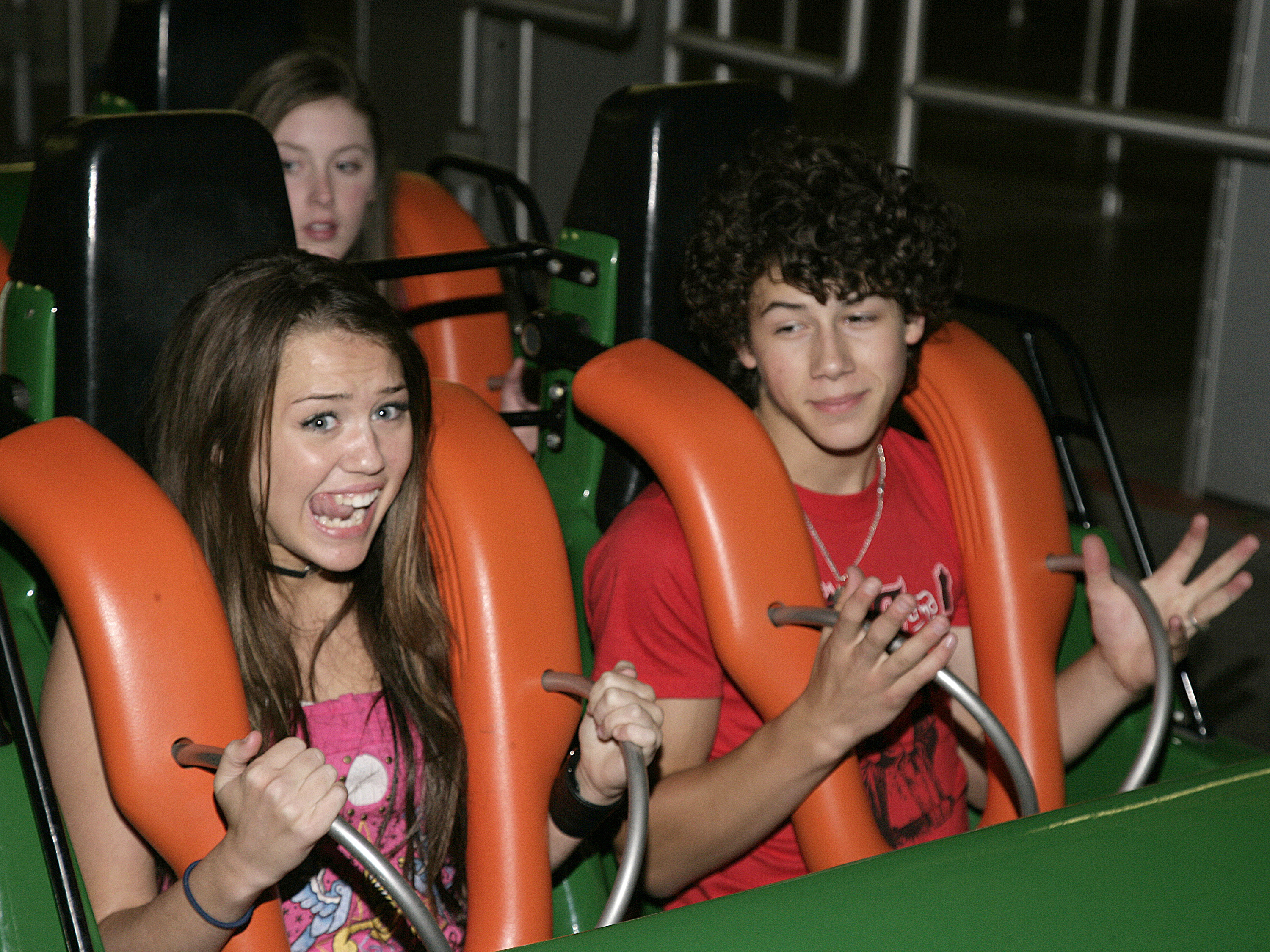 Miley Cyrus and The Honas Brothers Visit Six Flags Magic Mountain