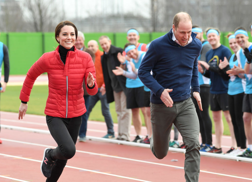 LONDON, ENGLAND - FEBRUARY 05: Catherine, Duchess of Cambridge and Prince William, Duke of Cambridge attend a training day for the Heads Together team for the London Marathon at Olympic Park on February 5, 2017 in London, England. (Photo by Karwai Tang/WireImage)