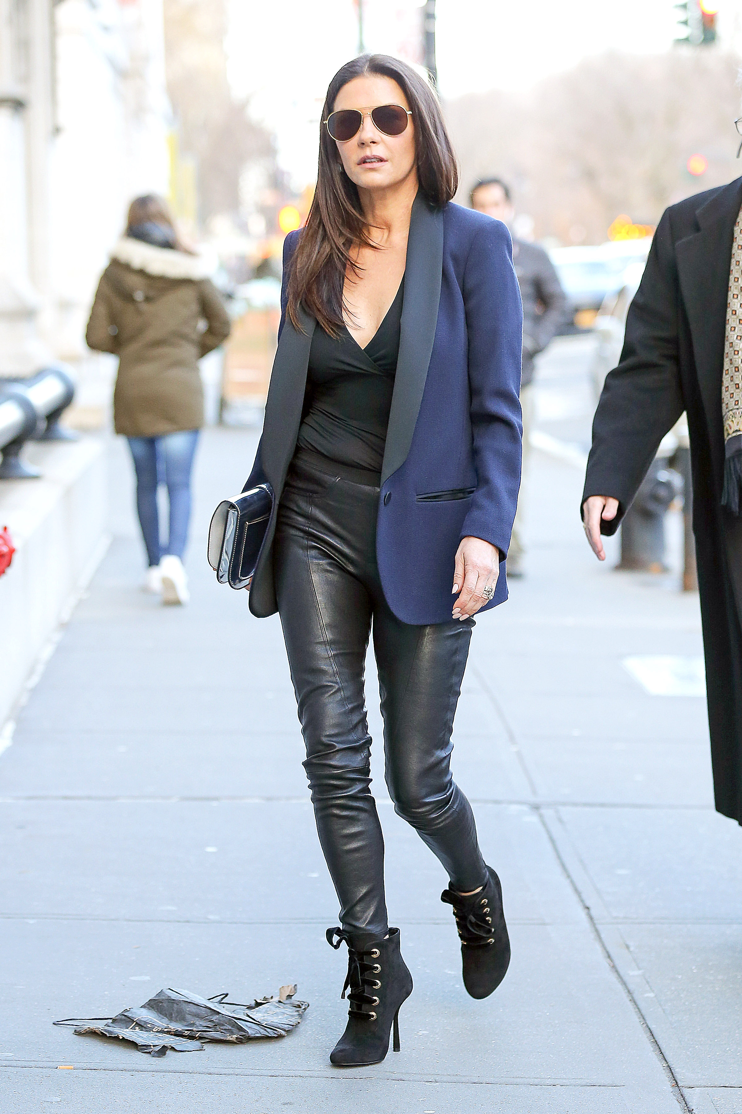 Catherine Zeta Jones Parades Her Lean Legs In Leather Pants As She Promotes 'Feud' In NY